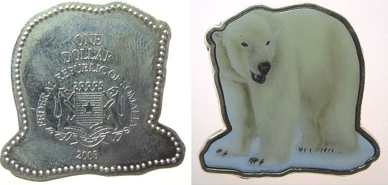 1 Dollar 2008 Somalia Republik Ku-versilbert Eisbär, Farbmünze unz