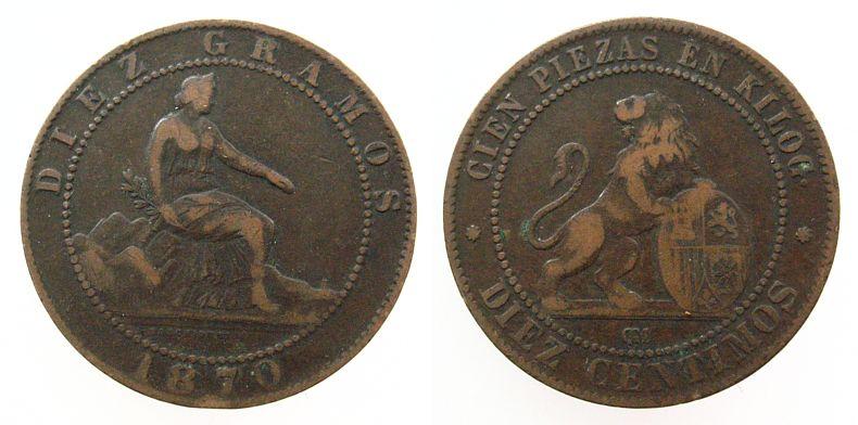 10 Centimos 1870 Spanien Ku Provisorische Regierung ss-