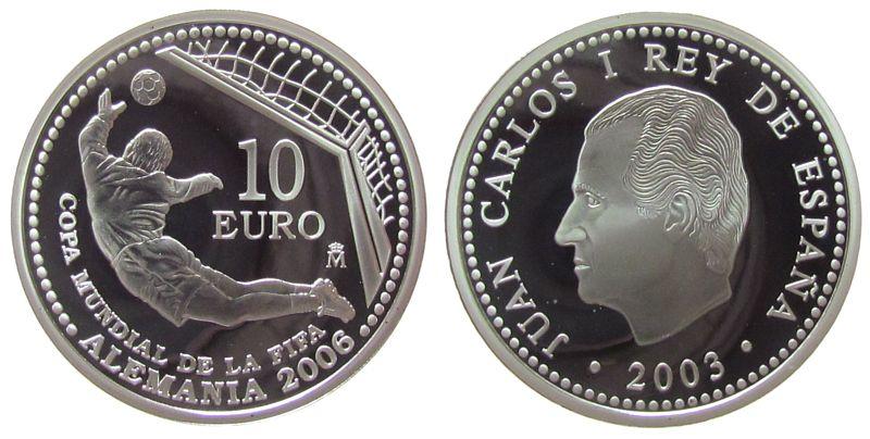 10 Euro 2003 Spanien Ag Torwart beim Sprung, Fußballweltmeisterschaft in Deutschland 2006, winzige Flecken pp