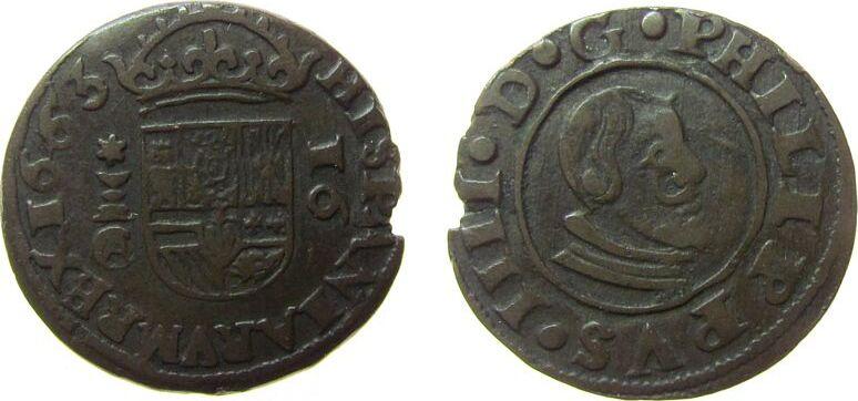 16 Maravedis 1663 Spanien Ku Felipe IV (1621-65), Cuenca ss