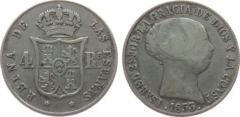 1 Real 1853 Spanien Ag Isabel II fast ss