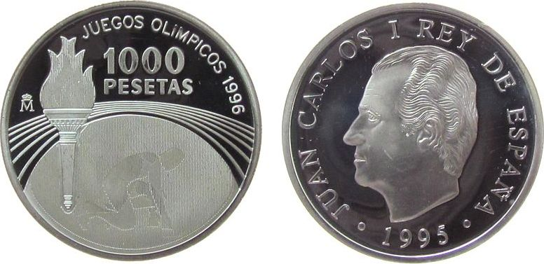 1000 Pesetas 1995 Spanien Ag Olympiade Atlanta, Olympische Flamme, minimale Reibespur pp