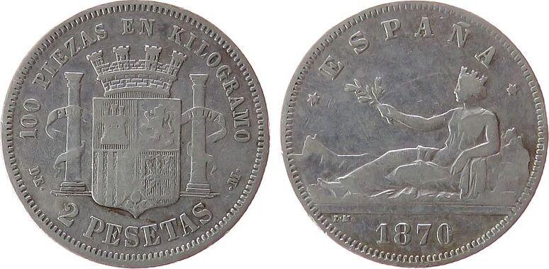2 Pesetas 1870 Spanien Ag Provisorische Regierung (74) ss
