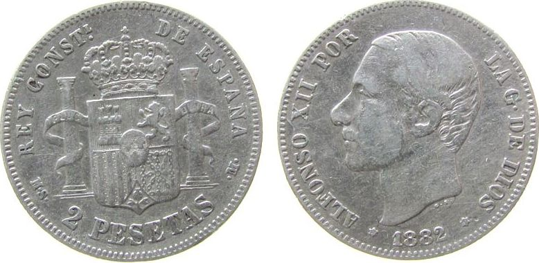 2 Pesetas 1882 Spanien Ag Alfonso XII, MS-M fast ss