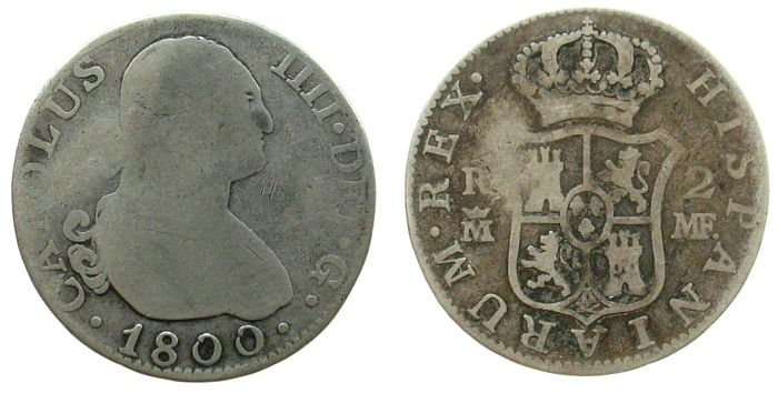 2 Reales 1800 Spanien Ag Karl III, MF sge