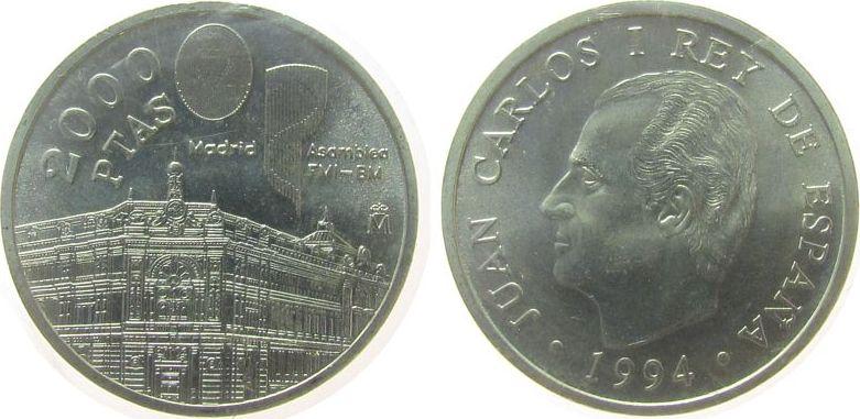 2000 Pesetas 1994 Spanien Ag Internationaler Währungsfond, in Folie stgl