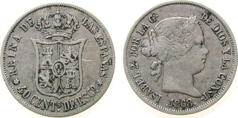 40 Centimos 1868 Spanien Ag Isabel II ss