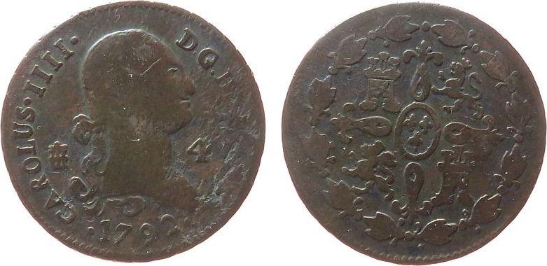 4 Maravedis 1792 Spanien Ku Carlos IV, Äquadukt schön