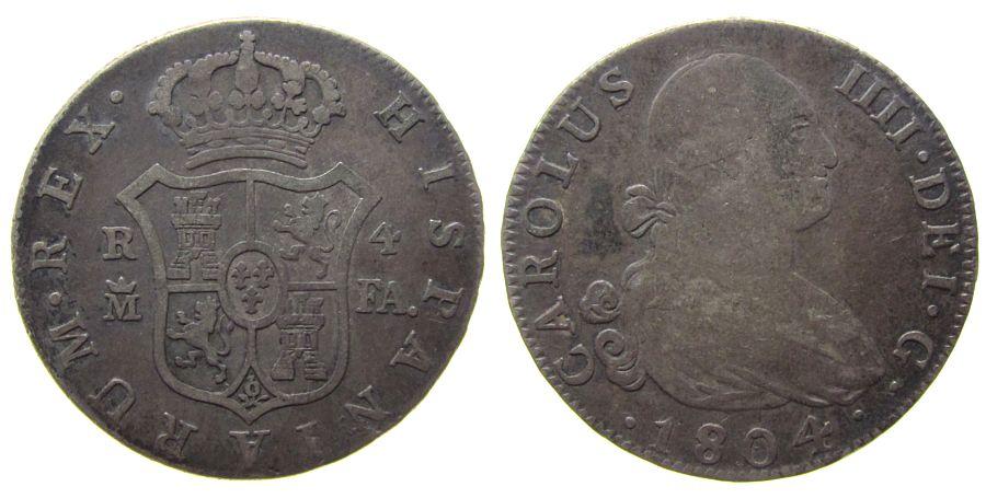 4 Reales 1804 Spanien Ag Carlos III, M-FA, CC 12433 ss