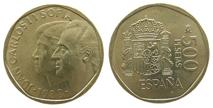 500 Pesetas 1988 Spanien KuAlNi Juan Carlos und Sofia, Umlaufgeld vz-unc