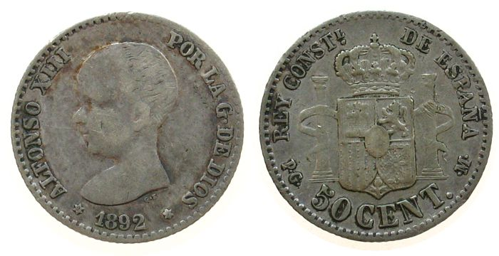 50 Centimos 1892 Spanien Ag Alfonso XIII, PG-M fast ss