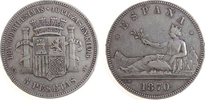 5 Pesetas 1870 Spanien Ag Provisorische Regierung, Fassungsspuren fast ss