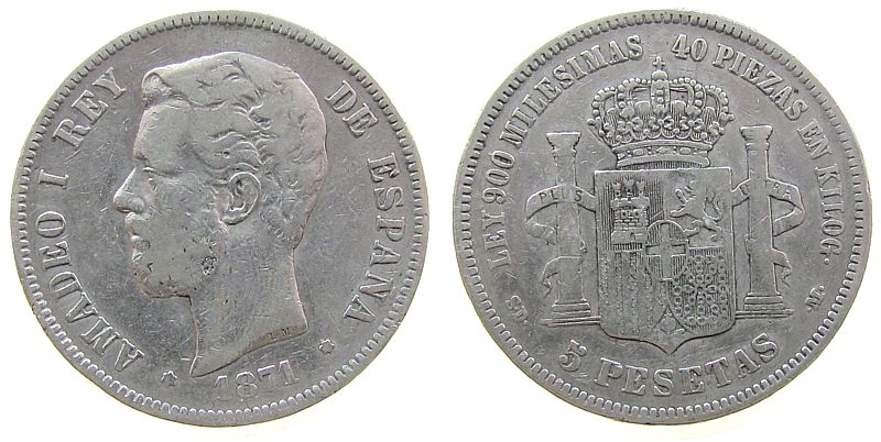 5 Pesetas 1871 Spanien Ag Amadeo I, SD - M fast ss