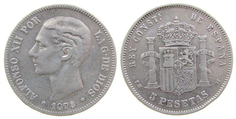 5 Pesetas 1878 Spanien Ag Alfonso XII, EM-M ss