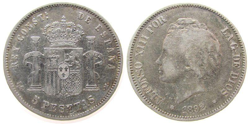 5 Pesetas 1892 Spanien Ag Alfonso XIII, PG-M fast ss
