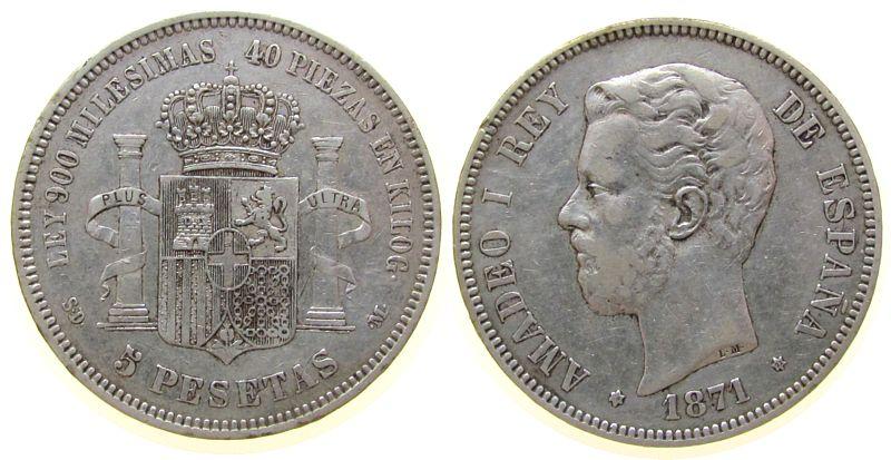 5 Pesetas 1871 Spanien Ag Amadeo I, SD - M, 1871/71 ss