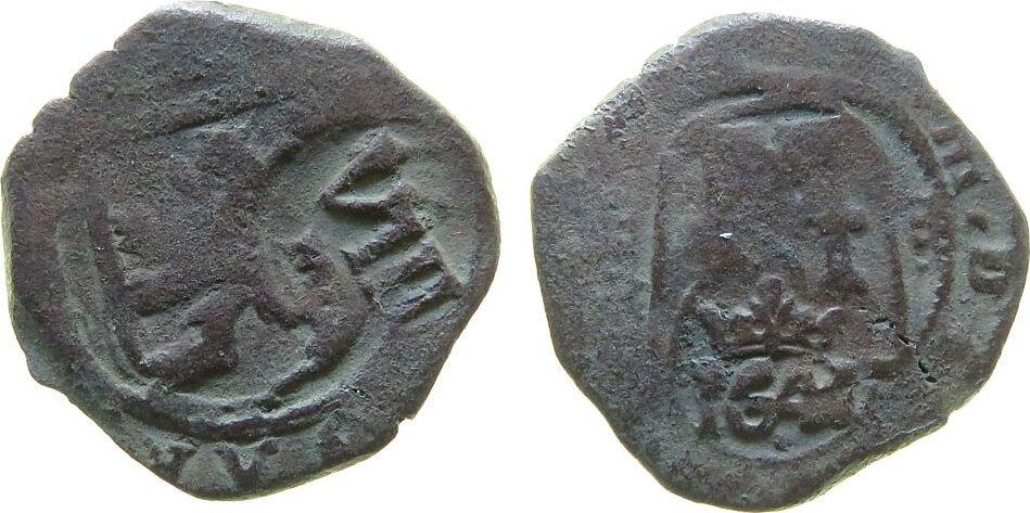8 Maravedis 1621-65 o.J. Spanien Ku Felipe IV (1621-65), 2 Gegenstempel, Jahr 164? s-ss