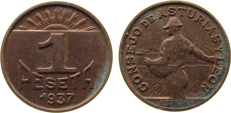 1 Peseta 1937 Spanien Ku Asturias und Leon, KM2, Bürgerkrieg - Guerra Civil, etwas fleckig vz