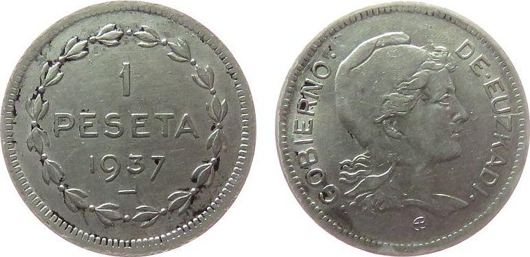 1 Peseta 1937 Spanien Ni Euzkadi, KM1, Bürgerkrieg - Guerra Civil vz