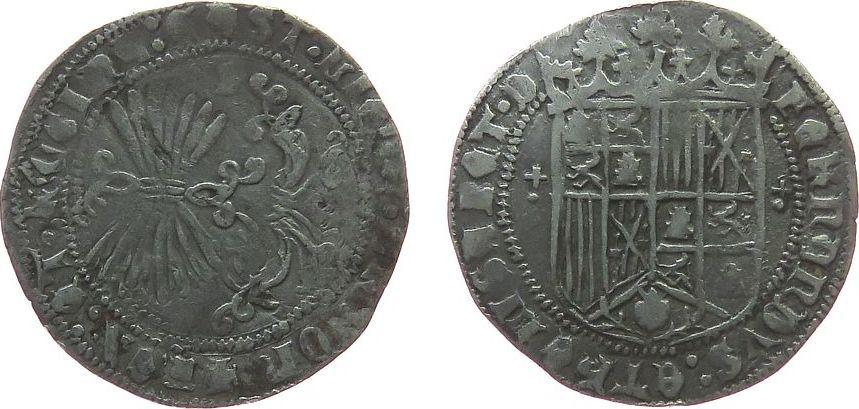 1 Real 1469 - 1504 o.J. Spanien Ag Ferdinand V und Isabel (1469-1504), 3,29 Gramm, Sevilla ss