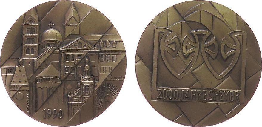 Medaille 1990 Speyer Bronze Speyer - zur 2000 Jahrfeier, wichtige Gebäude der Stadt / Grabkrone der Salier, v. V. Huster, ca. 38,5 MM vz-stgl