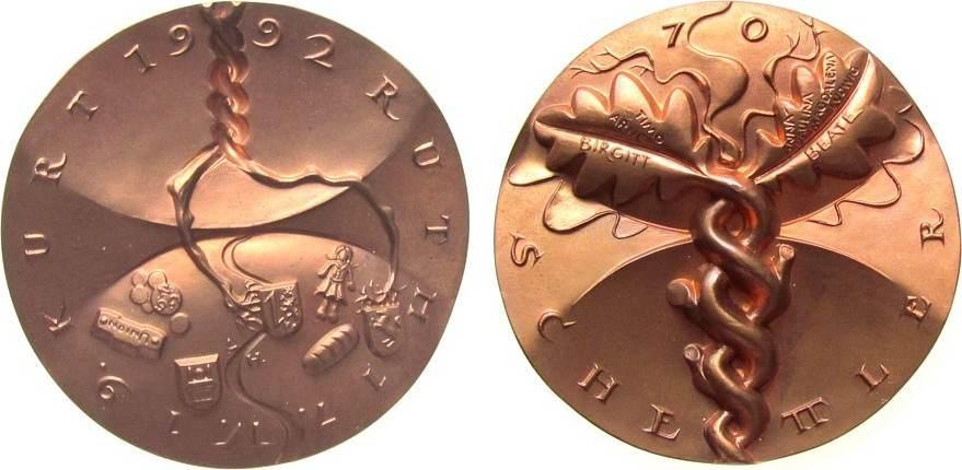 Medaille 1998 Speyer Bronze Schettler (Ludwigshafen), v. Viktor Huster (Baden-Baden), zum 70. Geburtstag, Stammbaum, private Medaille, Randpunze 107, stgl