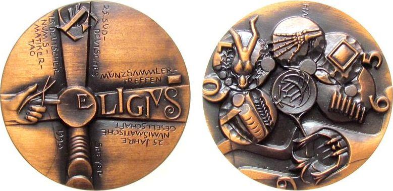 Medaille 1990 Speyer Bronze Speyer - auf das 25. Süddeutsche Münzsammlertreffen, und 25 Jahre NGS, Kreuz mit Hand und Goldschmiedezange _ Schrift: El stgl