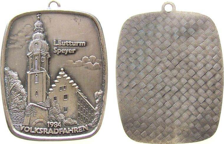 tragbare Plakette 1983 Speyer Alubronze Speyer - Volksradfahren, Läutturm, ca. 42 x 55 MM vz
