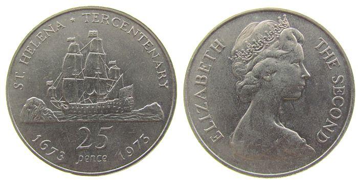 25 Pence 1973 St.Helena + Ascension KN Elisabeth II, St.Helena - Segelschiff unz