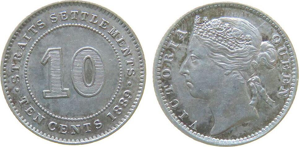 10 Cents 1889 Straits Settlements Ag Victoria (1837-1901) vz-unc