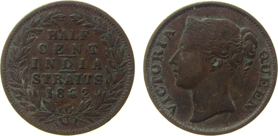 1/2 Cent 1862 Straits Settlements Ku Victoria (1837-1901) ss