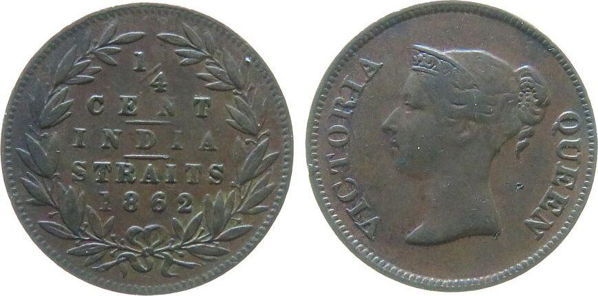 1/4 Cent 1862 Straits Settlements Ku Victoria (1837-1901), East India Company, kleiner Randstoß, kleine Marke, selten ss-