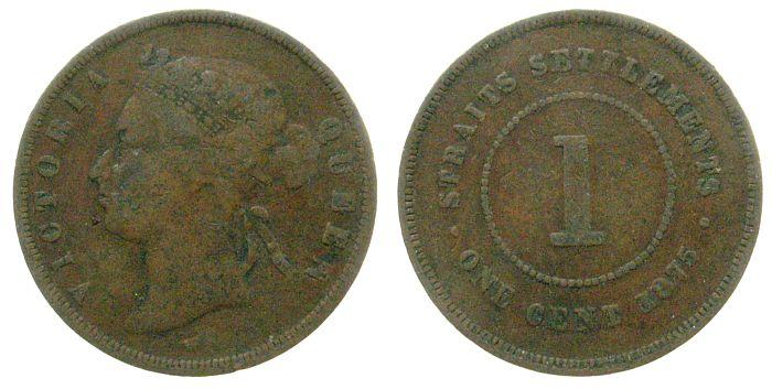 1 Cent 1875 Straits Settlements Br Victoria (1837-1901) s-ss