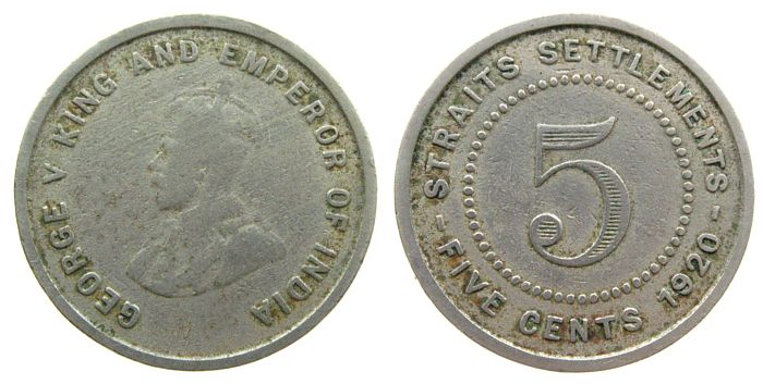 5 Cents 1920 Straits Settlements KN Georg V s-ss
