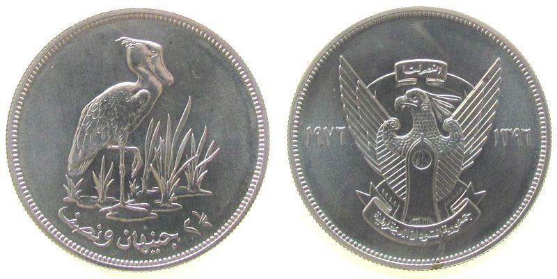 2 1/2 Pound 1976 Sudan Ag Schuhschnabelstorch unz