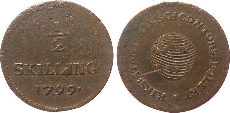 1/2 Skilling 1799 Schweden Ku Gustav IV, Riksg Contors, Notmünze fast ss