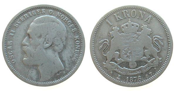 1 Krone 1876 Schweden Ag Oscar II s