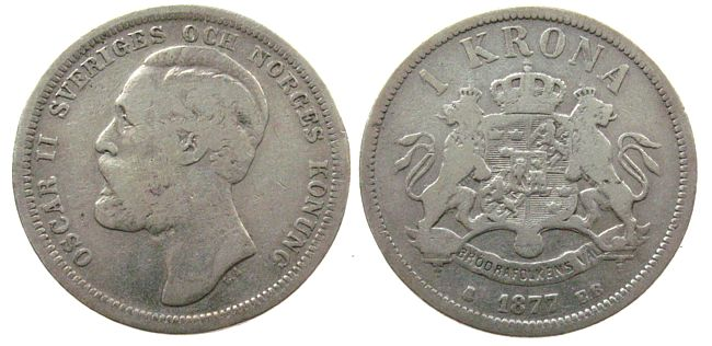 1 Krone 1877 Schweden Ag Oscar II s