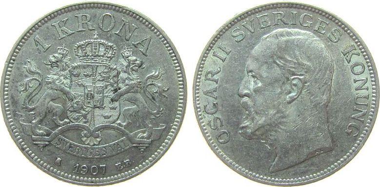 1 Krone 1907 Schweden Ag Oscar II ss