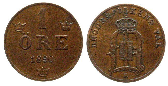 1 Öre 1890 Schweden Br Oscar II ss-vz