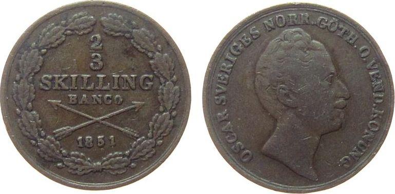 2/3 Skilling 1851 Schweden Ku Oscar I fast ss