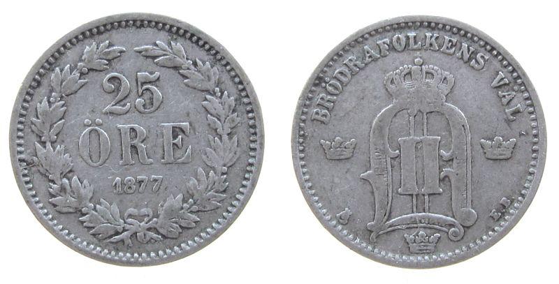 25 Öre 1875 Schweden Ag Oscar II schön