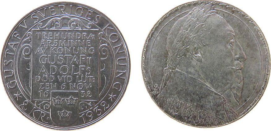 2 Kronen 1932 Schweden Ag 300.Todestag Gustaf II unz