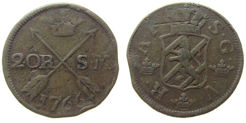 2 Öre 1766 Schweden Ku Adolf Frederik (1751-71) ss-