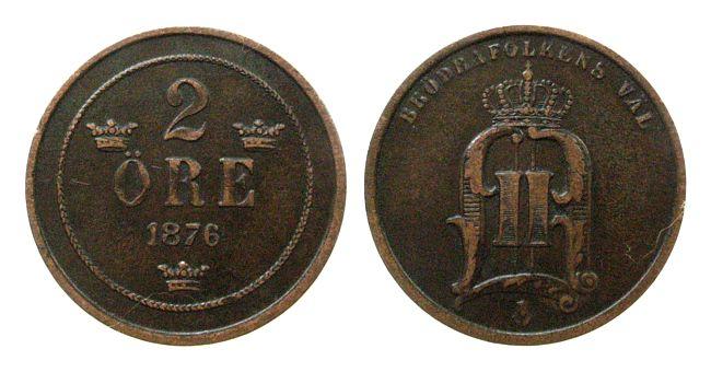 2 Öre 1876 Schweden Br Oscar II ss