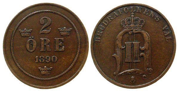 2 Öre 1890 Schweden Br Oscar II ss