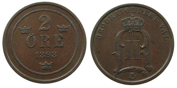 2 Öre 1898 Schweden Br Oscar II ss-vz