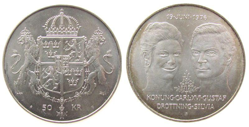 50 Kronen 1976 Schweden Ag Hochzeit Carl+Silvia unz