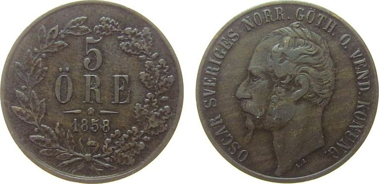 5 Öre 1858 Schweden Ku Oscar I, Sieg 20 ss
