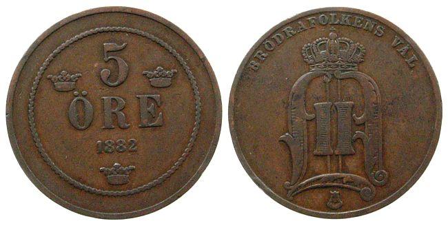 5 Öre 1882 Schweden Br Oscar II ss